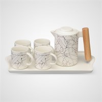 Керамический Набор для Чаепития с Абстрактным Принтом Белый
