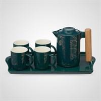Керамический Набор для Чаепития с Абстрактным Принтом Зеленый