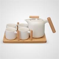 Керамический Набор для Чаепития с Деревянным Подносом Белый