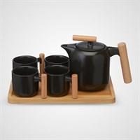 Керамический Набор для Чаепития с Деревянным Подносом Черный