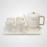 Керамический Набор для Чаепития с Перламутровым Покрытием Белый