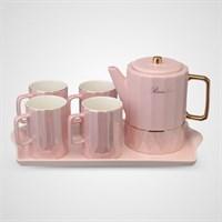 Керамический Набор для Чаепития с Перламутровым Покрытием Розовый
