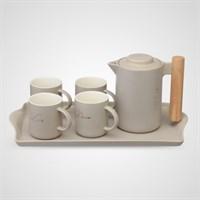 Керамический Набор для Чаепития с Подносом Серый
