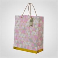 Подарочный Розовый Пакет с Геометрическим Принтом M (от 12 шт.)