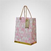 Подарочный Розовый Пакет с Геометрическим Принтом S (от 12 шт.)