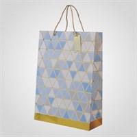 Подарочный Синий Пакет с Геометрическим Принтом L (от 12 шт.)