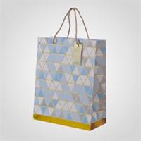 Подарочный Синий Пакет с Геометрическим Принтом M (от 12 шт.)