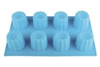 Форма силиконовая д/выпечки 8 кексов 29х17х5 KL40B026 FDA корзинка, цвет голубой