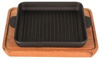 Сковорода чугунная 180х180х25мм гриль квадратная с подставкой Н181825Г-Д Хорека