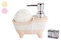 Дозатор для жидкого мыла+губка 1/2 микс 13х13х7CM  KR750