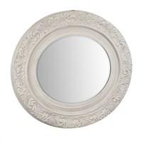 Зеркало овальное с фаской в белой деревянной раме 85х5,4х95