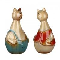Фигурки керамические кот и кошка 9,5х9х18,5/10х8,5х18,5