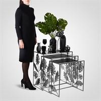"""Набор из Трех Дизайнерских Серебристых Столов с Листьями Монстеры """"Поталь"""""""