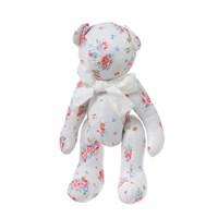 Медвежонок белый в цветочек с белым бантиком 30см