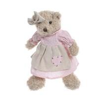 Медвежонок девочка в розовом платье с сердечком 30см