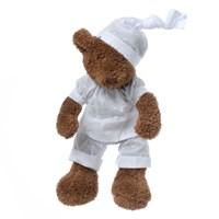 Медвежонок коричневый мальчик в белой пижаме 27см