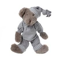 Медвежонок мальчик плюшевый в пижаме в клетку 35см