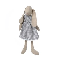 Кролик девочка в платье в клетку 60см