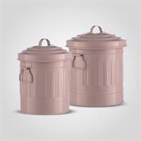 Набор из Двух Металлических Баночек с Ручками и Крышкой Розовый