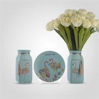 """Керамический Набор из Двух Ваз и Тарелки на Подставке """"Flamingo Love"""" Голубой"""