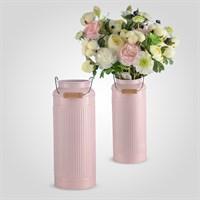Металлическая Ваза-Бидон Розовая Большая