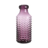 Ваза стеклянная фиолетовая рельефная 14х30см