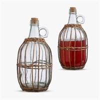 Бутыль для Самогона или Вина в Сетке из Ротанга Большой