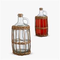 Бутыль для Самогона или Вина в Сетке из Ротанга Малый
