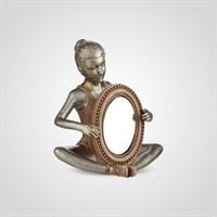 Утонченная Серебристая Балерина с Зеркалом (Полистоун)