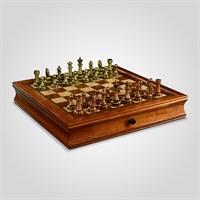 Шахматы Коричневые Подарочные с Металлическими Фигурами 7 см.