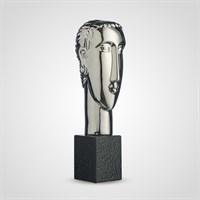 Декоративный Керамический Серебристый Бюст Женщины