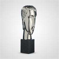 Декоративный Керамический Серебристый Бюст Мужчины