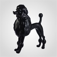 Декоративная Черная Фигура Пуделя 93 см. (Полистоун,Мраморная Крошка)