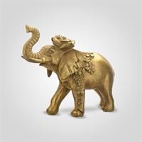 Слон Декор Золотистый Индийский Царь с Розочкой Большой (Полистоун)