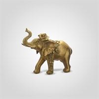 Слон Декор Золотистый Индийский Царь с Розочкой (Полистоун0