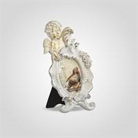 Фоторамка Ретро с Ангелочком Малая (Полистоун, Белый+Золотистый)