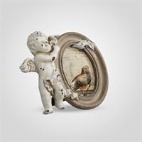 Фоторамка Ретро Овальная с Ангелочком (Полистоун)
