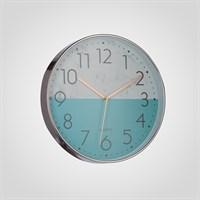 """Часы Настенные Двухцветные Бирюзовые """"Белый Мрамор"""" 30 см. (Полимер)"""