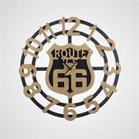 """Часы Настенные в Стиле Лофт """"Route 66"""" (Металл+Дерево)"""