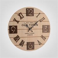 """Часы Настенные в Стиле Лофт с Коричневыми Цифрами """"Sweet Home London"""" (Дерево) 40 см."""