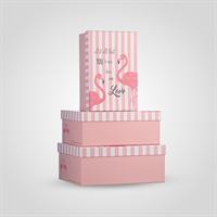 """Набор из Трех Прямоугольных Розовых Подарочных Коробок """"Фламинго"""""""