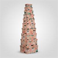 """Набор из 10 Квадратных Подарочных Коробок """"Фламинго"""""""