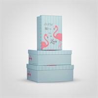 """Набор из Трех Прямоугольных Голубых Подарочных Коробок """"Фламинго"""""""