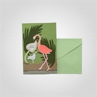"""Открытка Поздравительная Ручной Работы Розовый Фламинго""""С Днем Рождения"""" от 5 шт."""
