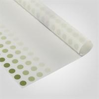 Пленка Матовая Упаковочная для Цветов Белая в Зеленый Горошек (20 листов)