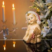 Ангел новогодний с мишкой 13х12х18см