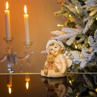 Ангел новогодний сидящий с мишкой 11х10х12см