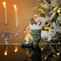 Ангел новогодний спящий на сапоге  12х10х15см