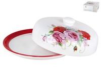 Блюдо д/блинов с крышкой 23см п/уп ZFC246-4 Дивные розы