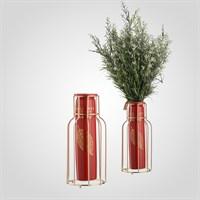 Красная Керамическая Ваза-Бутылка в Металлическом Золотистом Каркасе Большая